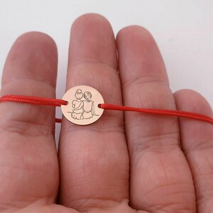 Bratara 2 surori / prietene - banut 12 mm - Aur roz 14K - snur reglabil