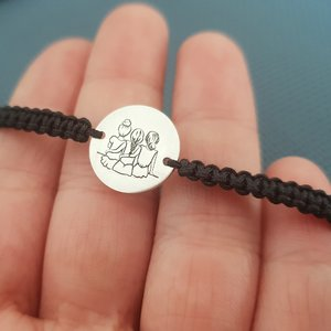 Bratara 3 surori / prietene - Argint 925, snur negru impletit