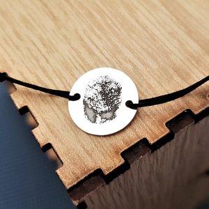 Bratara banut cu amprenta - Argint 925, snur rosu