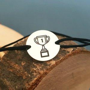 Bratara banut - Cupa gravata - Argint 925, snur negru
