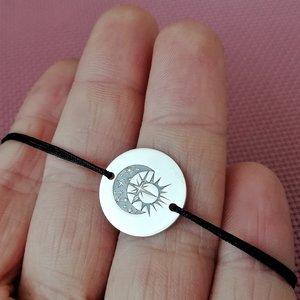 Bratara banut - Luna si Soare - Argint 925, snur reglabil