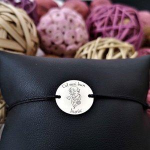 Bratara banut personalizata - Cel mai bun bunic- Argint 925, snur reglabil