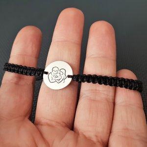 Bratara banut personalizata -  Proaspeti parinti - Argint 925, snur negru impletit