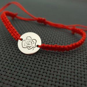 Bratara banut personalizata -  Proaspeti parinti - Argint 925, snur rosu impletit