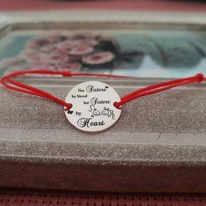 Bratara banut - Sisters by heart - Argint 925, snur rosu