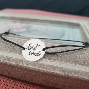 Bratara Best friends - Argint 925, snur negru