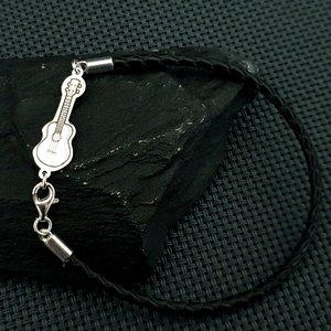 Bratara Chitara - Argint 925, piele impletita