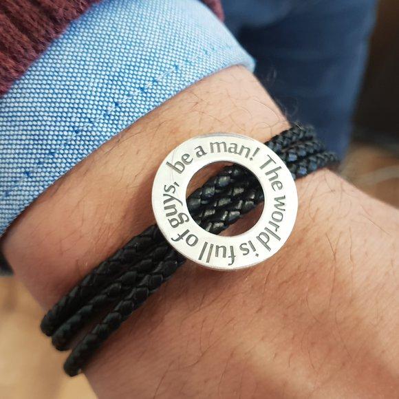 Bratara barbati model Compas cu mesaj personalizat - Argint 925 si Piele