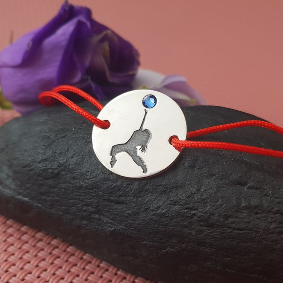 Bratara - Dansatoare - Argint 925, cristal Swarovski si snur rosu