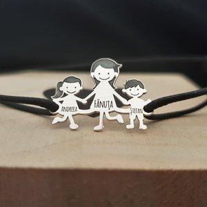 Bratara Familie - 3 Membri - pandant Argint 925 - snur negru matase vegetala reglabil