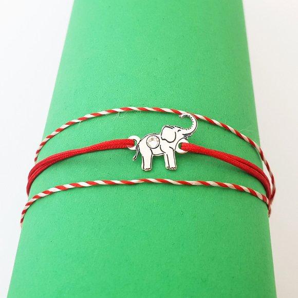 Bratara Elefant - Argint 925 - cristal Swarovski - snur reglabil