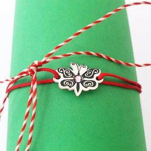 Bratara Fluture cu aripile deschise - Argint 925 - cristal Swarovski - snur reglabil