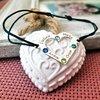 Bratara Inima cu 4 nume gravate si cristale Swarovski - Argint 925, snur reglabil