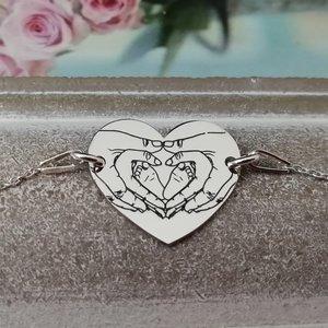 Bratara Inima cu maini si picioruse bebe gravate - Argint 925, lantisor cu prelungire