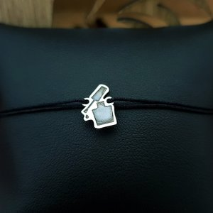 Bratara lac unghii - Argint 925, snur negru reglabil