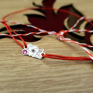 Bratara Martisor - Floare - Argint 925, cristal Swarovski, snur rosu