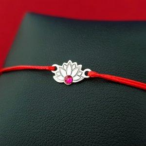Bratara Floare de Lotus - Argint 925, cristal Swarovski, snur rosu