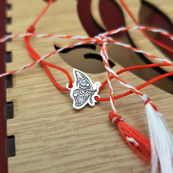 Bratara Fluture din lateral - Argint 925 - snur reglabil