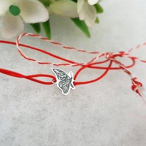 Bratara Martisor - Fluture - Argint 925, snur rosu