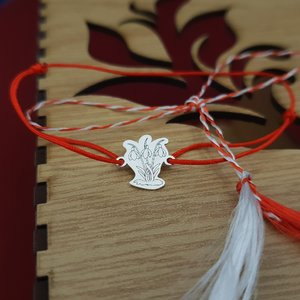 Bratara Martisor - Ghiocei - Argint 925, snur rosu