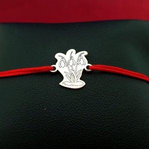 Bratara Ghiocei - Argint 925 - snur reglabil