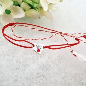 Bratara Martisor - Inima - Argint 925, cristal Swarovski, snur rosu