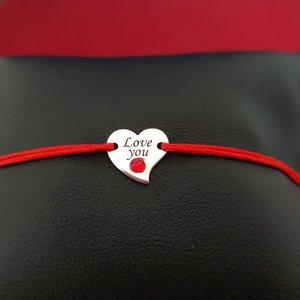 Bratara Inima - Argint 925, cristal Swarovski, snur rosu