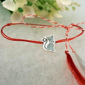 Bratara Martisor - Pisica - Argint 925, cristal Swarovski, snur rosu