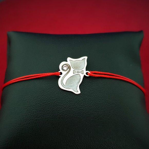 Bratara Pisica - Argint 925, cristal Swarovski, snur rosu