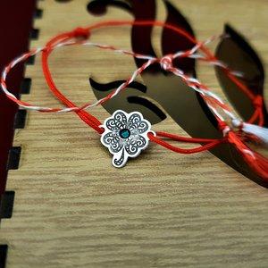 Bratara Martisor - Trifoi - Argint 925, cristal Swarovski, snur rosu