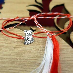 Bratara Martisor - Ursulet - Argint 925, snur rosu