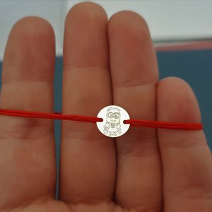 Bratara Minion - Argint 925, snur rosu