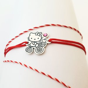 Bratara personaj - Hello Kitty - model decupat - Argint 925 - cristal Swarovski -  snur reglabil