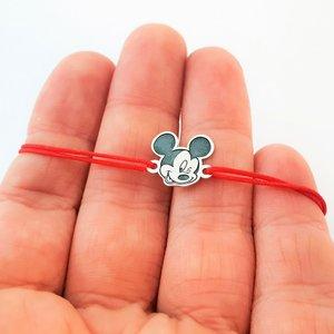 Bratara personaj - Mickey Mouse - model decupat - Argint 925 - snur reglabil