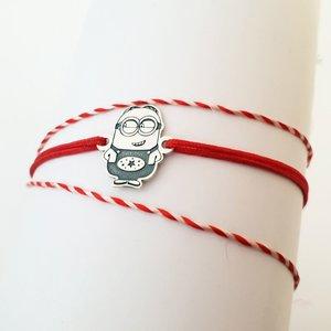 Bratara personaj - Minion - model decupat - Argint 925 - snur reglabil