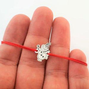 Bratara personaj - Olaf - model decupat - Argint 925 - snur reglabil