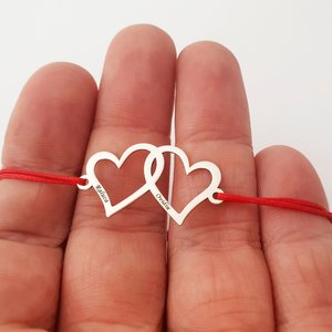 Bratara personalizata - Inimile noastre - 2 inimi unite - Argint 925 - snur reglabil