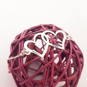 Bratara personalizata - Inimile noastre - 2 inimi unite - cu lantisor - Argint 925