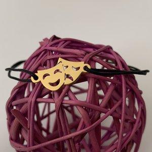 Bratara personalizata - Masti de teatru - Argint placat cu Aur galben - snur reglabil, diverse culori