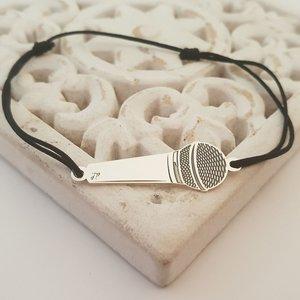 Bratara personalizata - Microfon - Argint 925 - snur reglabil