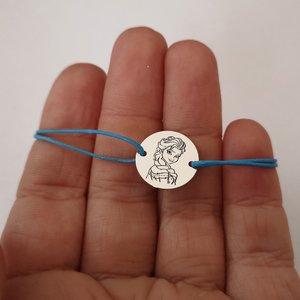Bratara personalizata - personaj Frozen - Elsa - Argint 925, snur reglabil