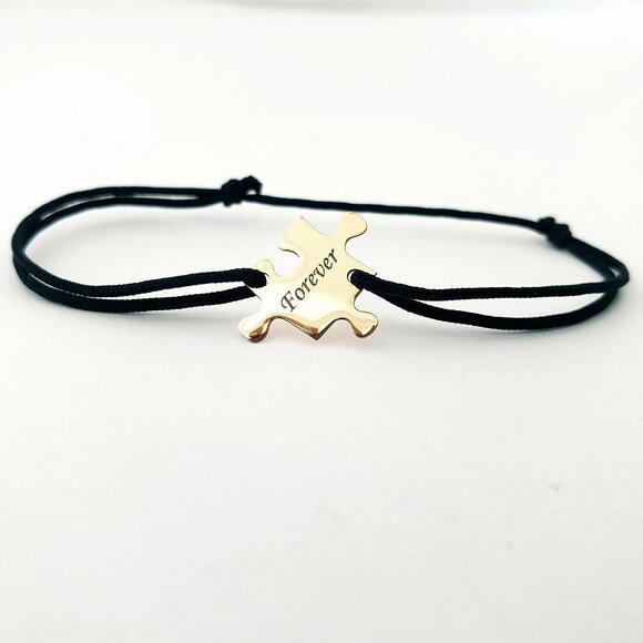 Bratara personalizata - Piesa de puzzle - Aur Galben 14K - snur reglabil