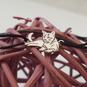 Bratara pisica intinsa - Argint 925, snur reglabil