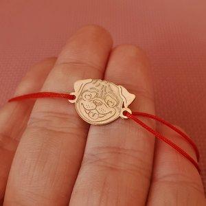 Bratara Pug - Argint 925 placat cu Aur roz 14K, snur