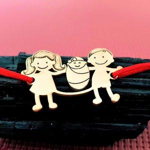 Bratara Familie 3 membri cu bebe  - pandant Argint 925  placat cu Aur 14K - snur matase vegetala reglabil