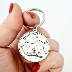 Breloc personalizat - Fotbal - Argint 925 - inel inoxidabil
