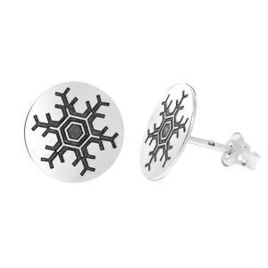 Cercei Craciun - Afara ninge linistit - Argint 925, surub