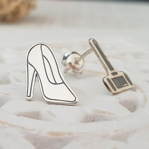 Cercei asimetrici - pantof si ciocan judecatoresc - Argint 925, surub