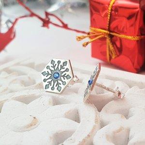 Cercei Craciun - Model Hexagon - Cristal de zapada - Argint 925 - cristal Swarvski - inchidere surub