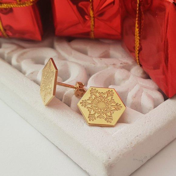 Cercei Craciun - Model Hexagon - Fulg de zapada - Argint 925 placat cu Aur galben de 14 K - inchidere surub